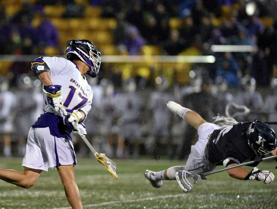 UAlbany attack Jakob Patterson takes a shot at the goal during a game against Yale on Friday, April 19, 2019 Casey Field in Albany, NY. (Phoebe Sheehan/Times Union) Photo: Phoebe Sheehan / 20046691A