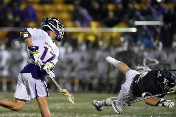 UAlbany attack Jakob Patterson takes a shot at the goal during a game against Yale on Friday, April 19, 2019 Casey Field in Albany, NY. (Phoebe Sheehan/Times Union)