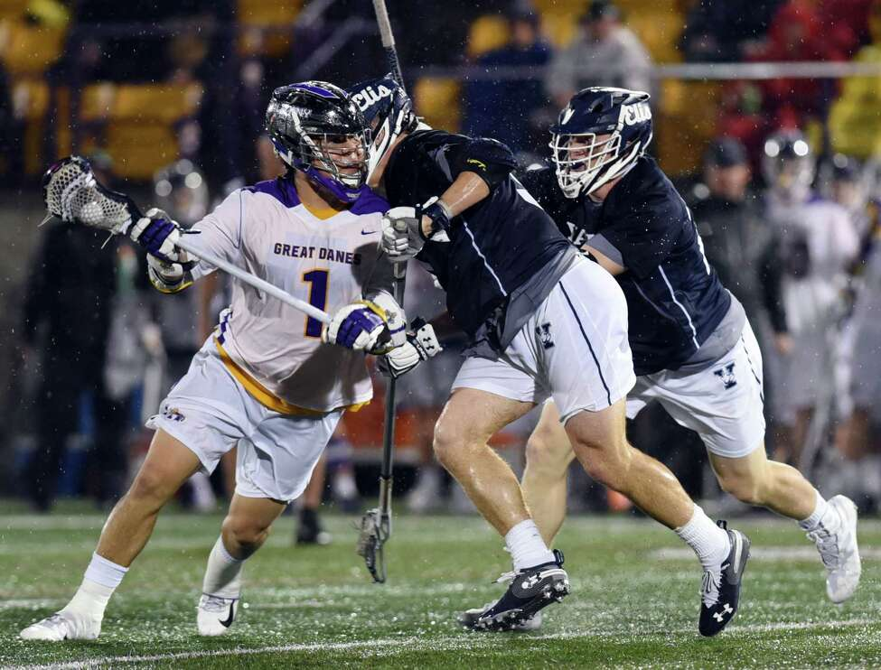 UAlbany attack Tehoka Nanticoke cradles the ball during a game against Yale on Friday, April 19, 2019 Casey Field in Albany, NY. (Phoebe Sheehan/Times Union)