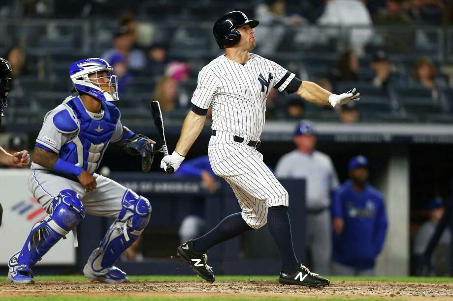 NEW YORK, NEW YORK - APRIL 19:  Brett Gardner #11 of the New York Yankees hits a two-run home run in the third inning against the Kansas City Royalsat Yankee Stadium on April 19, 2019 in New York City. (Photo by Mike Stobe/Getty Images) Photo: Mike Stobe / 2019 Getty Images
