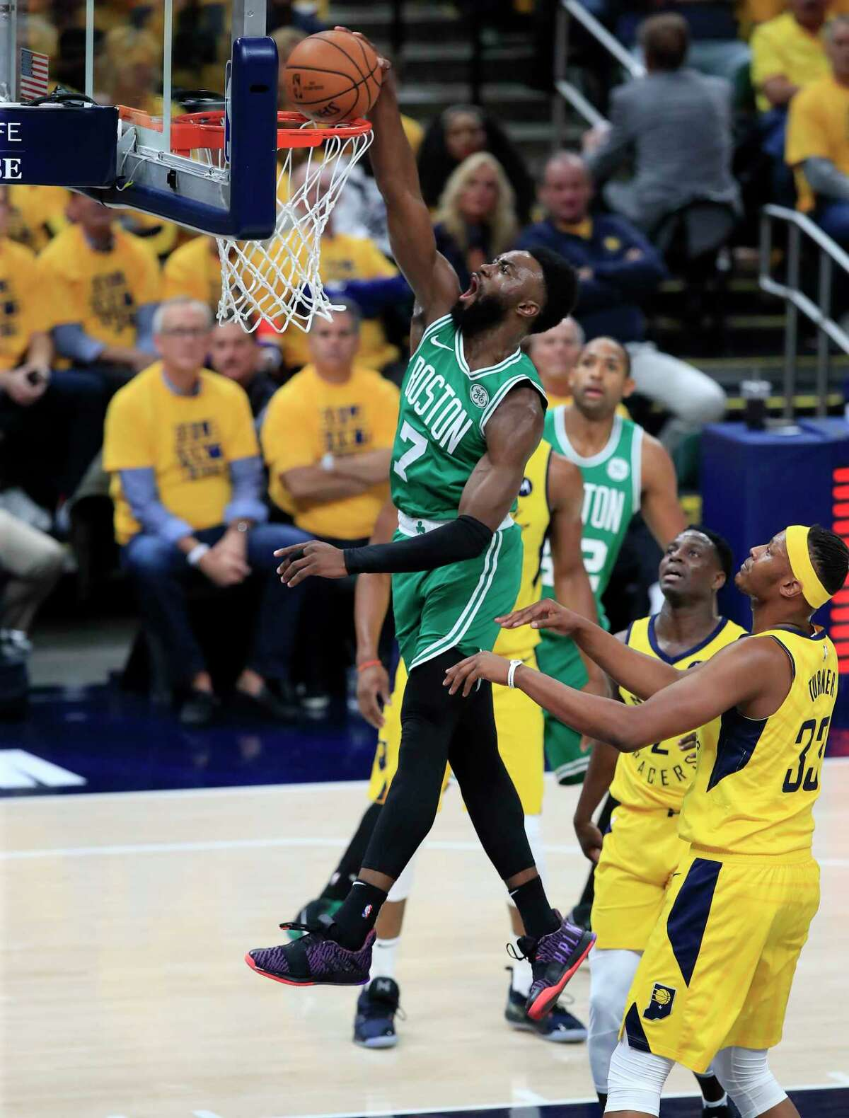INDIANAPOLIS, INDIANA - APRIL 19: Jaylen Brown #7 of the Boston Celtics shoots the ball against the Indiana Pacers in game three of the first round of the 2019 NBA Playoffs at Bankers Life Fieldhouse on April 19, 2019 in Indianapolis, Indiana. NOTE TO USER: User expressly acknowledges and agrees that , by downloading and or using this photograph, User is consenting to the terms and conditions of the Getty Images License Agreement. (Photo by Andy Lyons/Getty Images)