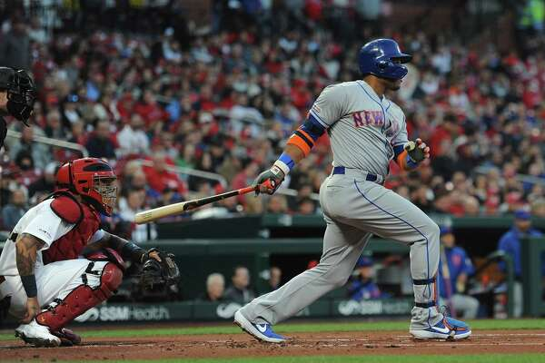 ST. LOUIS, MO - APRIL 19: Robinson Cano #24 of the New York Mets hits a double in the first inning against the St. Louis Cardinals at Busch Stadium on April 19, 2019 in St. Louis, Missouri. (Photo by Michael B. Thomas /Getty Images)
