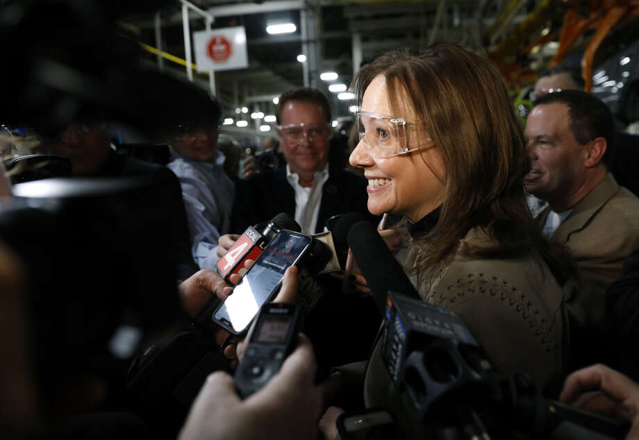 Mary Barra, chairman and chief executive officer of General Motors, speaks to the media at the GM Orion Assembly plant in Orion Township, Mich., on March 22, 2019. Photo: Bloomberg Photo By Jeff Kowalsky. / © 2019 Bloomberg Finance LP
