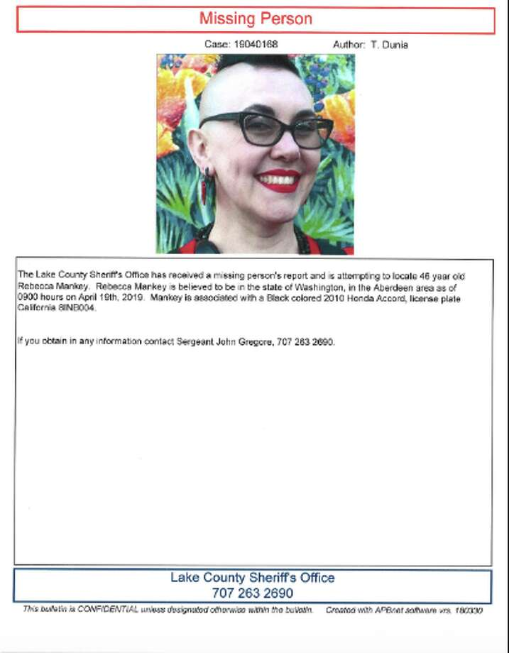 Rebecca Parker Mankey, the woman who confronted and harassed a man wearing a MAGA hat inside of a Palo Alto Starbucks, is missing. Photo: Lake County Sheriff's Office