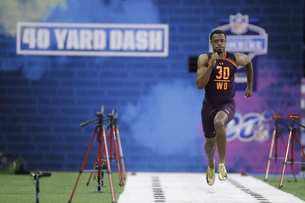 Fresno State wide receiver KeeSean Johnson runs the 40-yard dash during the NFL football scouting combine, Saturday, March 2, 2019, in Indianapolis. (AP Photo/Darron Cummings)
