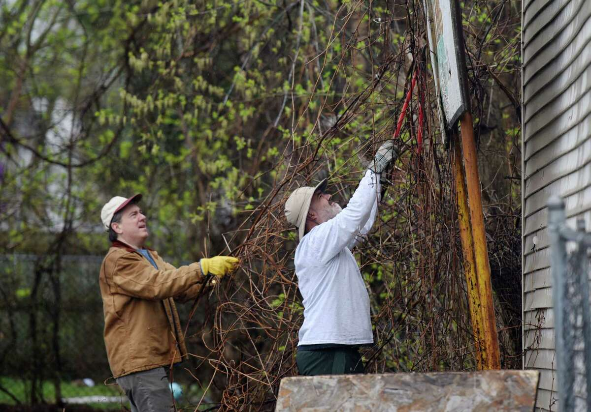 Pete Dott, left, and Chuck Conroy work together to trim branches and vines on Saturday, April 20, 2019 at the Lots of Hope site in Troy, NY. (Phoebe Sheehan/Times Union)