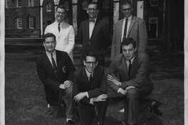 Schenectady, New York - Union College will compete against Rutgers University Sunday on Channel 10s G-E College Bowl quiz show. The team will be chosen from four of the five students shown above. From left, standing, are David L. Brungart, Dr. Alan Nelson, team coach; and Donald V. Banzhof; kneeling, Browne Little, James Reisman, team captain, and Michael Lubotkin. June 04, 1960 (Times Union Archive)
