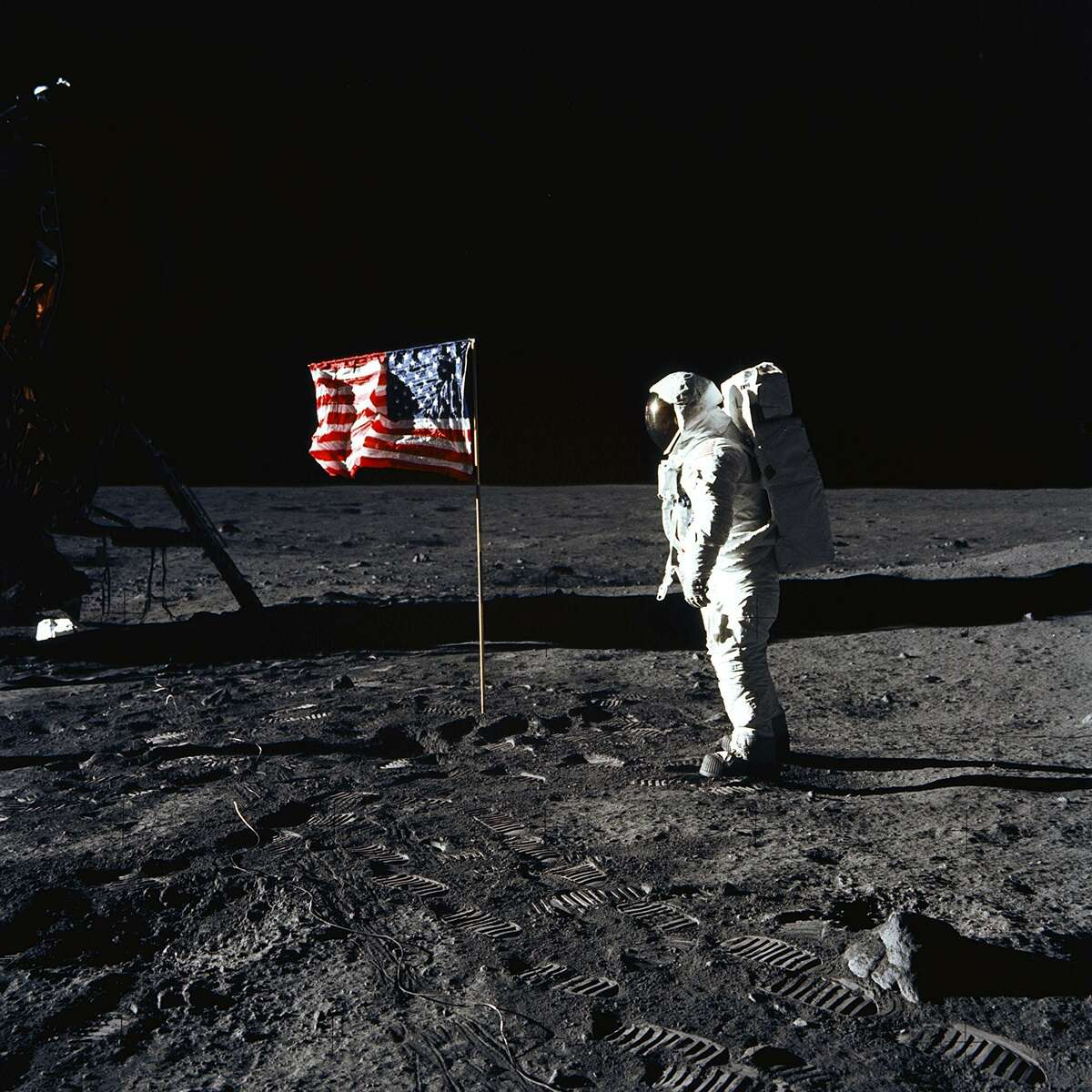 Astronaut Buzz Aldrin poses for a photograph beside the deployed United States flag during Apollo 11 on July 20, 1969. Astronaut Neil Armstrong took the photograph. >>> Click through to read incredible facts about the Apollo 11 mission