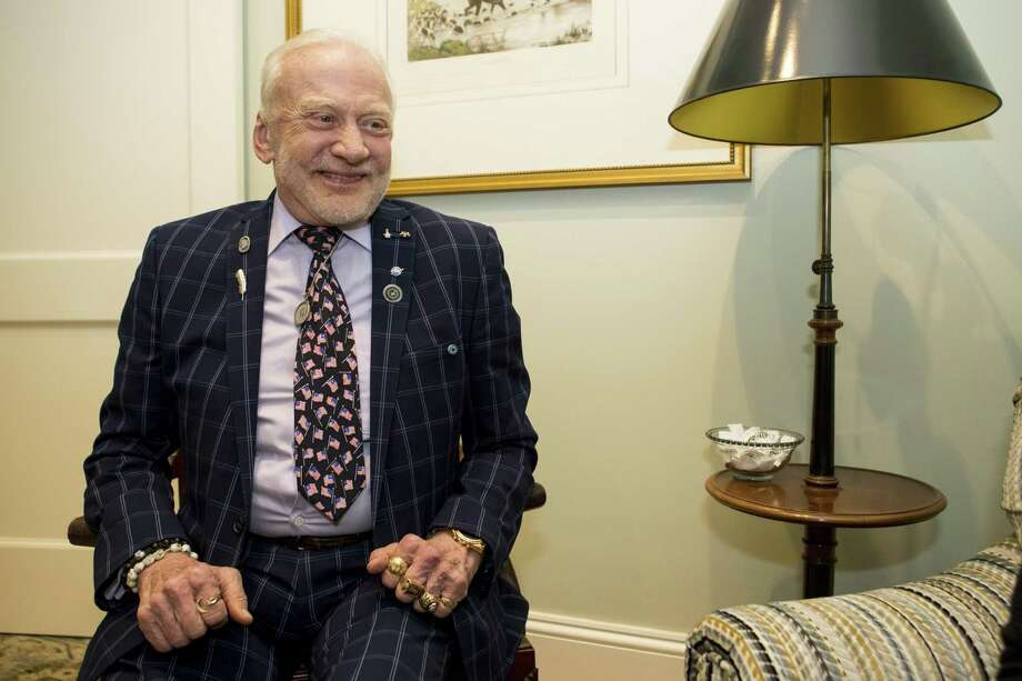 """Apollo 11 Astronaut Buzz Aldrin answers questions during an interview before the unveiling of """"Lunar Knights"""" by Maciej Magaat at Old Parkland on Wednesday, April 3, 2019, in Dallas. Photo: Brett Coomer,  Houston Chronicle / Staff Photographer / © 2019 Houston Chronicle"""