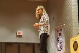 """Delaney Ruston who worked on """"Screenagers"""" addresses the audience attending the screening on April 17 at Humble High School."""