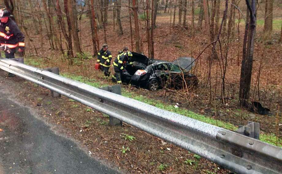 A crash in Fairfield, Conn., on April 20, 2019. Photo: Contributed Photo / Fairfield Fire Department / Contributed Photo / Connecticut Post Contributed