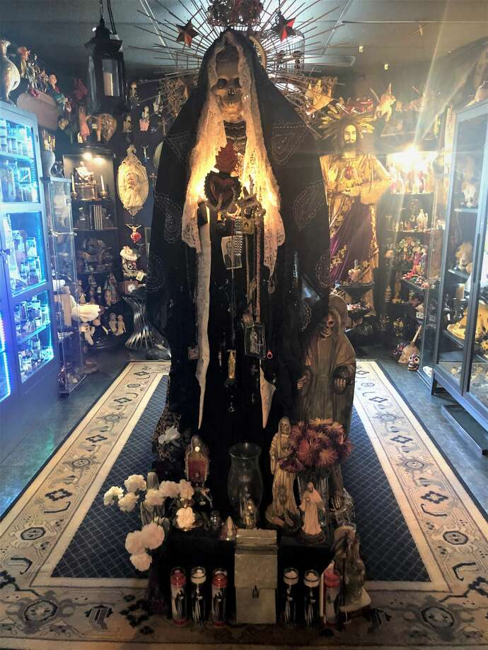 There is an altar for Santa Muerte, the patron saint of the outcast. Photo: Marcy De Luna