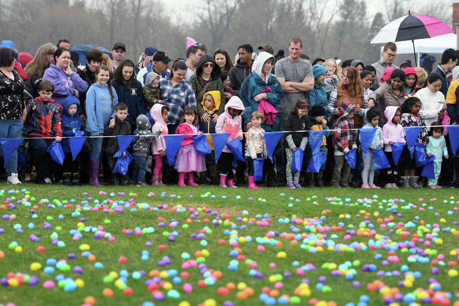 Children wait for the Easter Egg hunt to begin on Saturday, April 20, 2019 at the Skano athletic fields in Clifton Park, NY. (Phoebe Sheehan/Times Union) Photo: Phoebe Sheehan / 40046733A