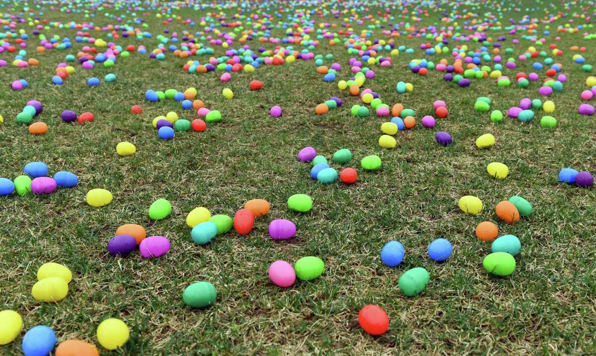 Easter Eggs line the fields before the start of the hunt on Saturday, April 20, 2019 at the Skano athletic fields in Clifton Park, NY. (Phoebe Sheehan/Times Union)