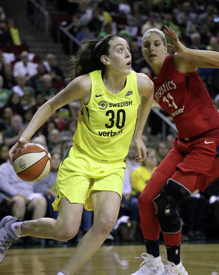 Reigning WNBA MVP Breanna Stewart is expected to miss the upcoming season after rupturing the Achilles' tendon in her right leg. Photo: Elaine Thompson / Associated Press / Copyright 2018 The Associated Press. All rights reserved