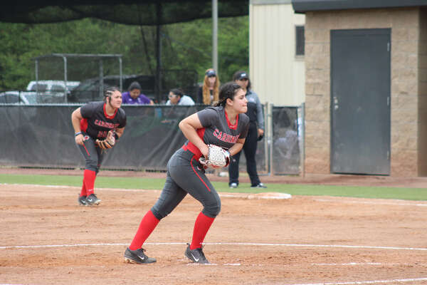Lamar University freshman starter Aaliyah Ruiz throws a pitch for the Cardinals. Photo provided by Lamar Athletics.