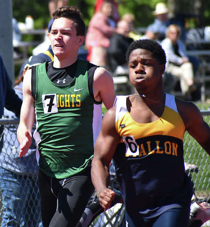 Metro-East Lutheran's Jack Bircher, left, competes in the 200-meter dash. Photo: Matt Kamp/Intelligencer