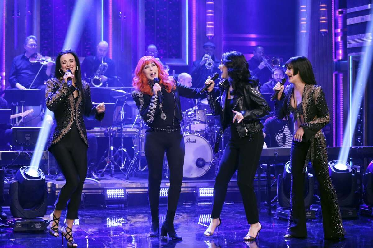 THE TONIGHT SHOW STARRING JIMMY FALLON -- Episode 1048 -- Pictured: Musical guest the Cast of The Cher Show featuring Cher performs on April 15, 2019 -- (Photo by: Andrew Lipovsky/NBC/NBCU Photo Bank via Getty Images)