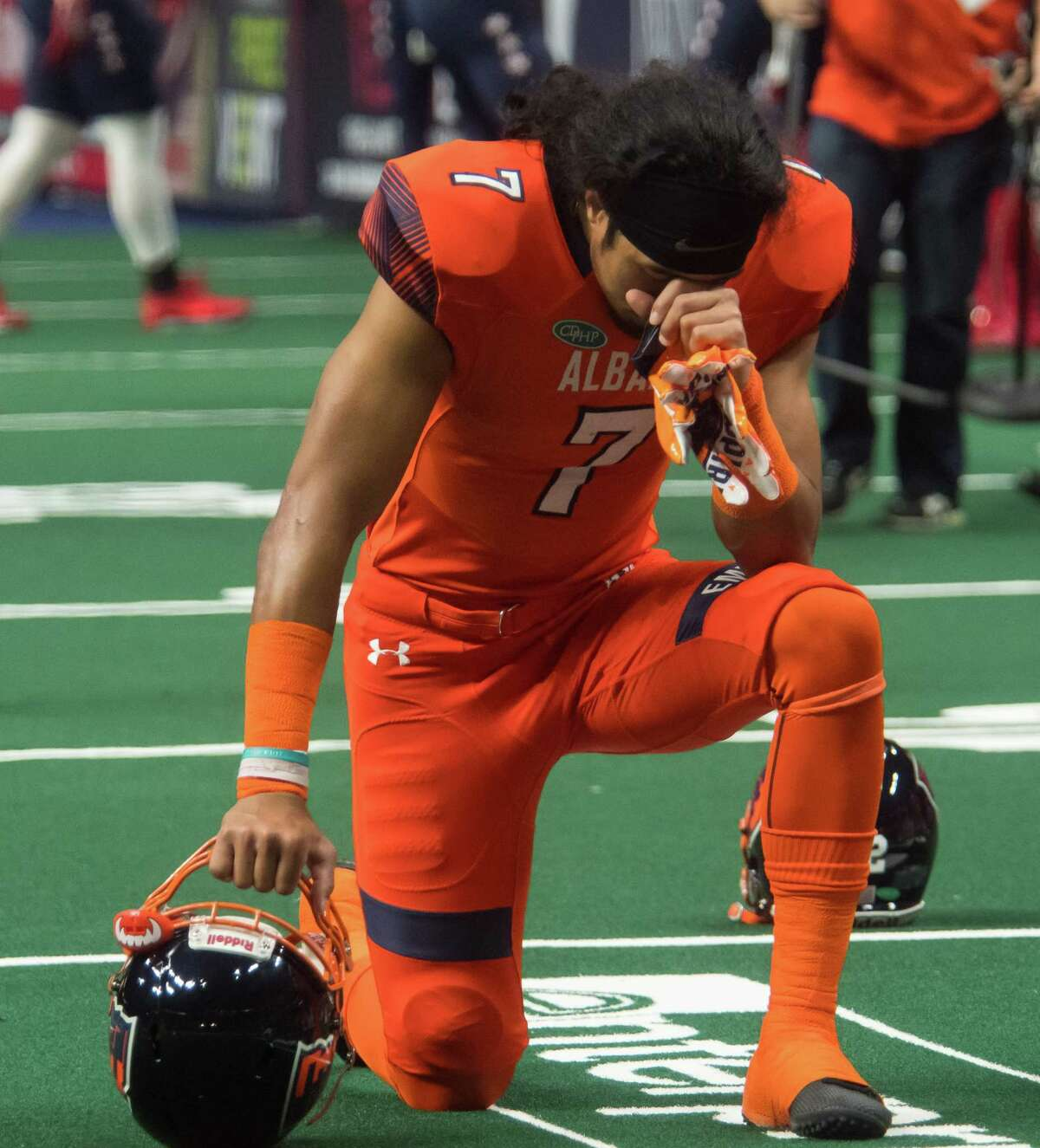 Albany Empire wide receiver Malachi Jones prays prior to the start of a game against Washington Valor at the Times Union Center in Albany, N.Y., on Saturday, May 4, 2018. (Jenn March, Special to the Times Union)