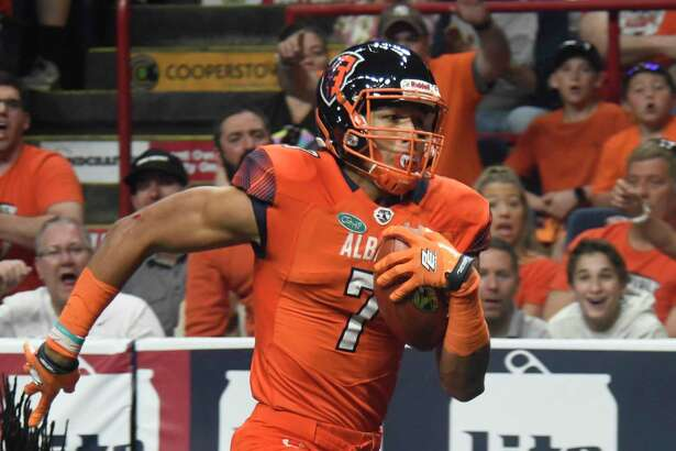 Albany Empire wide receiver Malachi Jones runs into the end zone for a touchdown during a game against Washington Valor at the Times Union Center in Albany, N.Y., on Saturday, May 4, 2018. (Jenn March, Special to the Times Union)