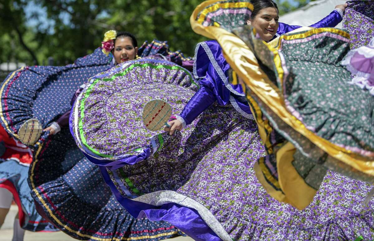 Teresa Champion Dance Academy dancers perform during Piñatas in the Barrio, an all-day Fiesta event at Plaza Guadalupe on Saturday, April 20th, 2019.