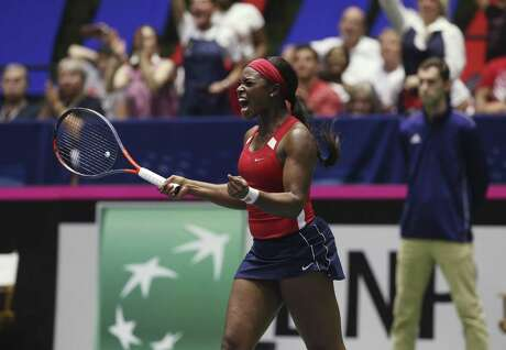 USA's Sloane Stephens reacts after defeating Switzerland's Timea Bacsinskzky during their Federation Cup match at the Freeman Coliseum on Saturday, Apr. 20, 2019. Stephens defeated Bacsinszky, 6-4, 6-3, to give USA a 1-1 tie with Switzerland. (Kin Man Hui/San Antonio Express-News)