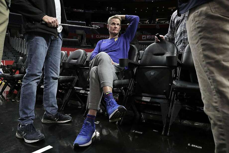 Warriors head coach Steve Kerr listens to questions from reporters during a practice session the day before the Golden State Warriors played the Los Angeles Clippers in Game 4 of the First Round of the NBA Playoffs at Staples Center in Los Angeles, Calif., on Saturday, April 20, 2019. Photo: Carlos Avila Gonzalez / The Chronicle