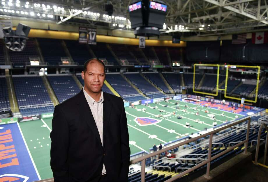 Arena Director of Operations Nate Sims stands for a portrait on Wednesday, April 17, 2019 at the Times Union Center in Albany, NY. (Phoebe Sheehan/Times Union) Photo: Phoebe Sheehan / 20046688A