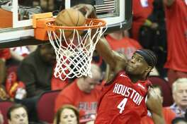 Houston Rockets forward Danuel House Jr. (4) dunks the ball in the second half against the Utah Jazz in the first game of an NBA playoff series at Toyota Center on Sunday, April 14, 2019 in Houston.