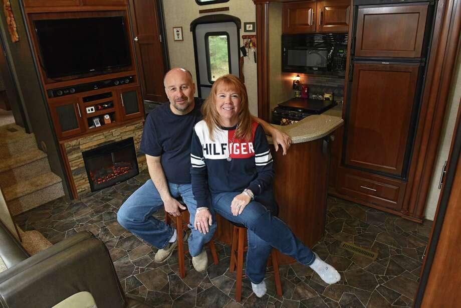 Cheryl Caza and her husband Rick sit in their RV on Friday, April 12, 2019 in Ballston Spa, N.Y. (Lori Van Buren/Times Union) Photo: Lori Van Buren / 20046651A