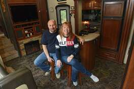 Cheryl Caza and her husband Rick sit in their RV on Friday, April 12, 2019 in Ballston Spa, N.Y. (Lori Van Buren/Times Union)