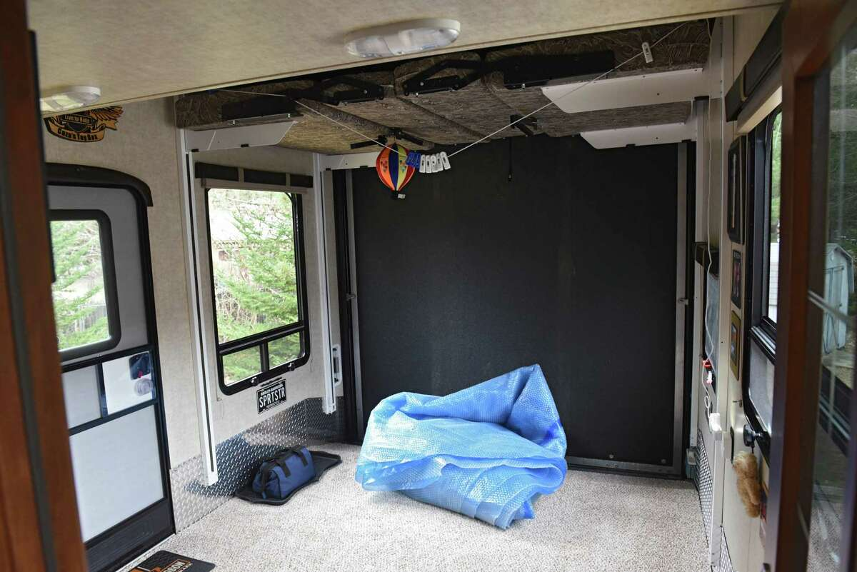 Space where motorcycles are stored in Cheryl and Rick Caza's RV on Friday, April 12, 2019 in Ballston Spa, N.Y. (Lori Van Buren/Times Union)