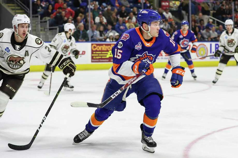 The Sound Tigers' Kieffer Bellows scored his 20th goal on Friday night. Photo: John McCreary / For Hearst Connecticut Media / Connecticut Post Freelance