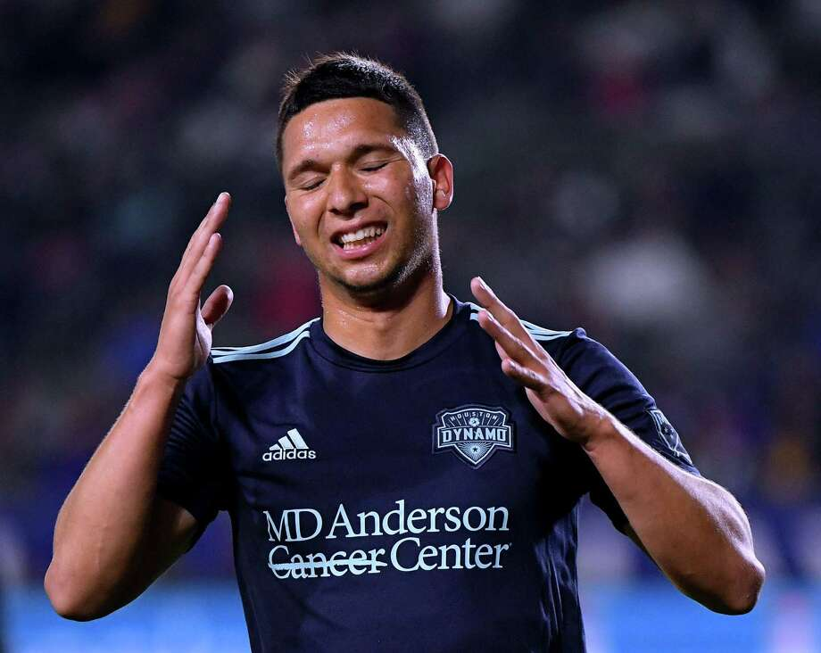 The Dynamo's Tomas Martinez reacts to a missed opportunity during Friday night's loss to the Los Angeles Galaxy. Photo: Harry How, Staff / Getty Images / 2019 Getty Images