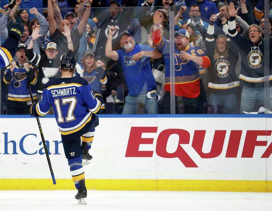 St. Louis Blues' Jaden Schwartz celebrates after scoring during the second period in Game 6 of an NHL first-round hockey playoff series against the Winnipeg Jets, Saturday, April 20, 2019, in St. Louis. (AP Photo/Jeff Roberson) Photo: Jeff Roberson / Copyright 2019 The Associated Press. All rights reserved.