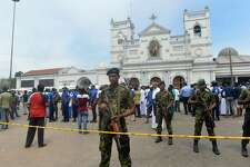 Sri Lankan security personnel keep watch outside the church premises following a blast at the St. Anthony's Shrine in Kochchikade, Colombo on April 21, 2019. - Explosions have hit three churches and three hotels in and around the Sri Lankan capital of Colombo, police said on April 21. (Photo by ISHARA S. KODIKARA / AFP) (Photo credit should read ISHARA S. KODIKARA/AFP/Getty Images)