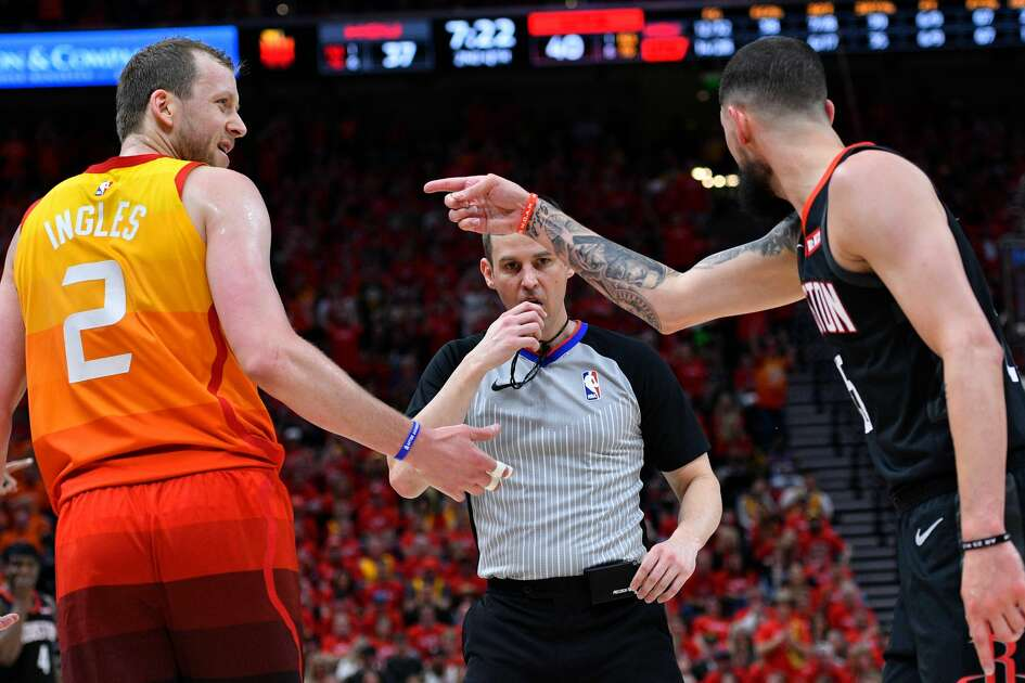 SALT LAKE CITY, UT - APRIL 20: Technical fouls are call against Joe Ingles #2 of the Utah Jazz and Austin Rivers #25 of the Houston Rockets by referee Kevin Scott #28 in the first half of Game Three during the first round of the 2019 NBA Western Conference Playoffs at Vivint Smart Home Arena on April 20, 2019 in Salt Lake City, Utah. NOTE TO USER: User expressly acknowledges and agrees that, by downloading and or using this photograph, User is consenting to the terms and conditions of the Getty Images License Agreement. (Photo by Gene Sweeney Jr./Getty Images)