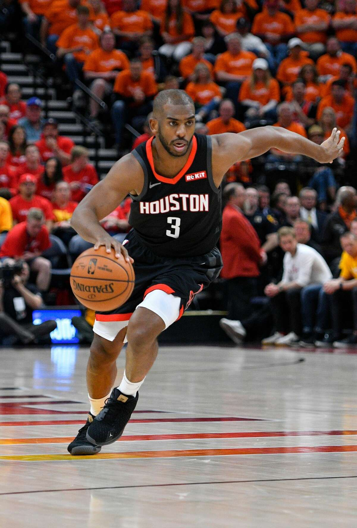 SALT LAKE CITY, UT - APRIL 20: Chris Paul #3 of the Houston Rockets drives to the basket in the second half of Game Three during the first round of the 2019 NBA Western Conference Playoffs against the Utah Jazz at Vivint Smart Home Arena on April 20, 2019 in Salt Lake City, Utah. NOTE TO USER: User expressly acknowledges and agrees that, by downloading and or using this photograph, User is consenting to the terms and conditions of the Getty Images License Agreement. (Photo by Gene Sweeney Jr./Getty Images)