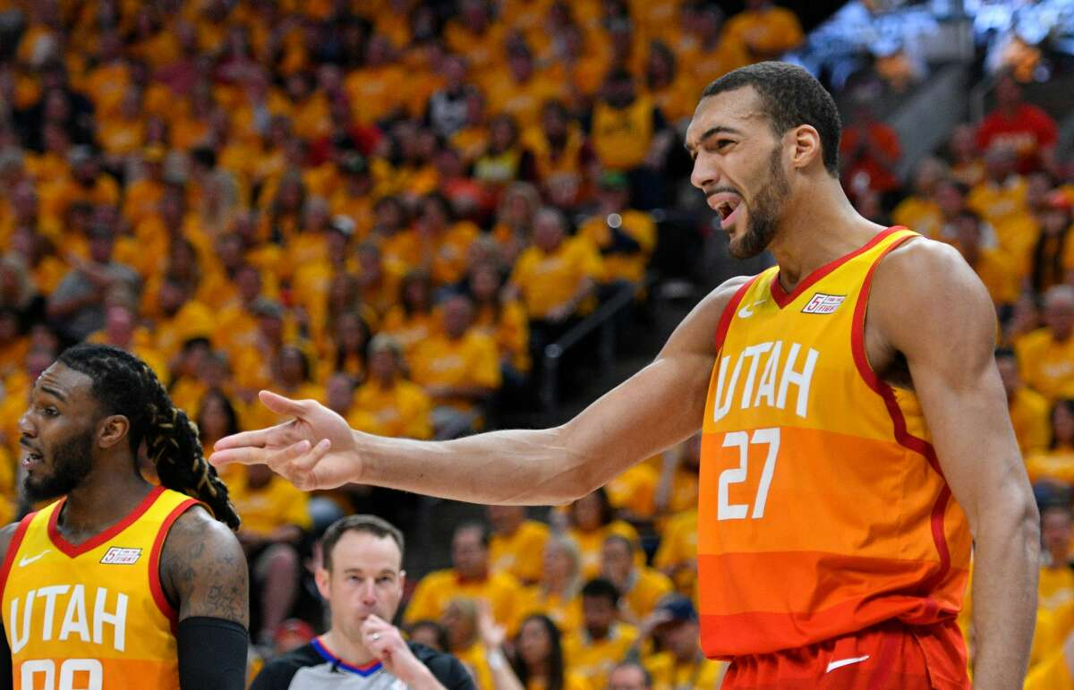 SALT LAKE CITY, UT - APRIL 20: Rudy Gobert #27 of the Utah Jazz reacts to a foul called on him in the second half of Game Three during the first round of the 2019 NBA Western Conference Playoffs against the Houston Rockets at Vivint Smart Home Arena on April 20, 2019 in Salt Lake City, Utah. NOTE TO USER: User expressly acknowledges and agrees that, by downloading and or using this photograph, User is consenting to the terms and conditions of the Getty Images License Agreement. (Photo by Gene Sweeney Jr./Getty Images)