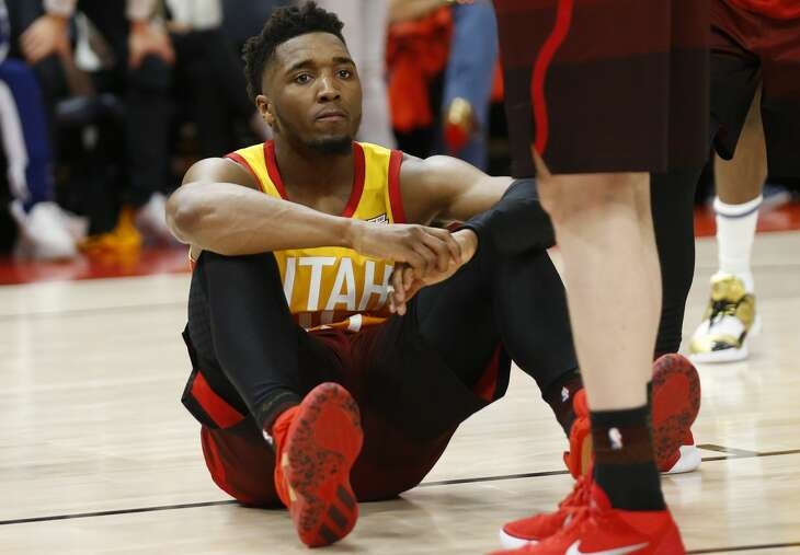 Utah Jazz guard Donovan Mitchell looks on after missing a 3-pointer against the Houston Rockets in the second half during an NBA basketball game Saturday, April 20, 2019, in Salt Lake City. (AP Photo/Rick Bowmer)