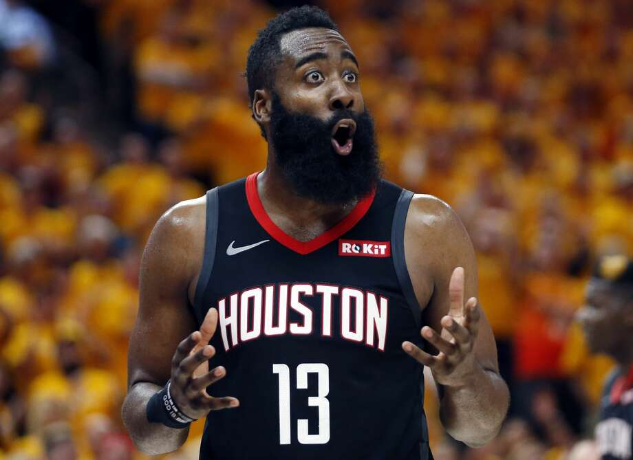 Houston Rockets guard James Harden (13) reacts after a foul in the second half during an NBA basketball game against the Utah Jazz Saturday, April 20, 2019, in Salt Lake City. (AP Photo/Rick Bowmer) Photo: Rick Bowmer/Associated Press