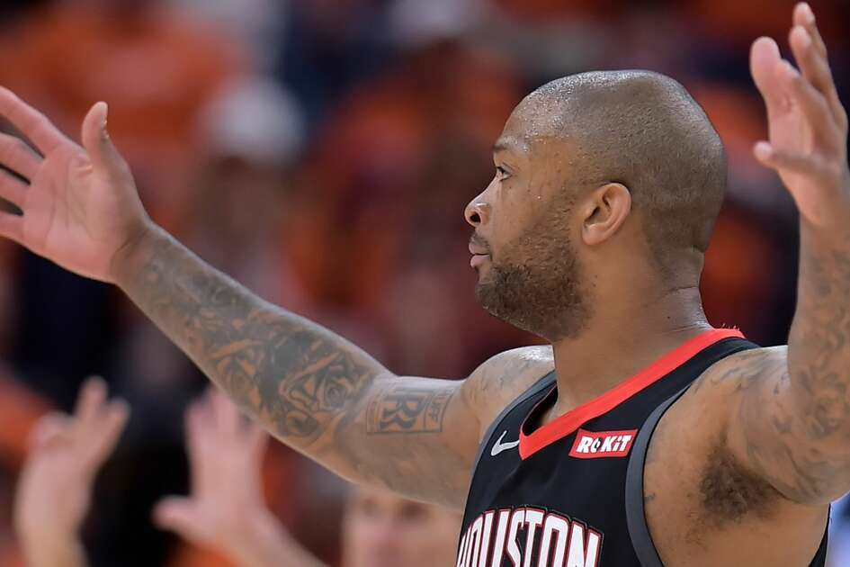 SALT LAKE CITY, UT - APRIL 20: PJ Tucker #17 of the Houston Rockets reacts to a foul call in the second half of Game Three during the first round of the 2019 NBA Western Conference Playoffs against the Utah Jazz at Vivint Smart Home Arena on April 20, 2019 in Salt Lake City, Utah. NOTE TO USER: User expressly acknowledges and agrees that, by downloading and or using this photograph, User is consenting to the terms and conditions of the Getty Images License Agreement. (Photo by Gene Sweeney Jr./Getty Images)