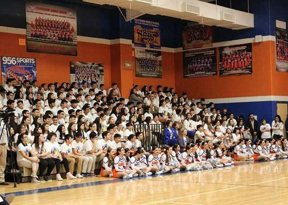 Trautmann Middle School students and staff enjoy the special ceremony for the Texas Schools To Watch recognition. Photo: Courtesy Photo