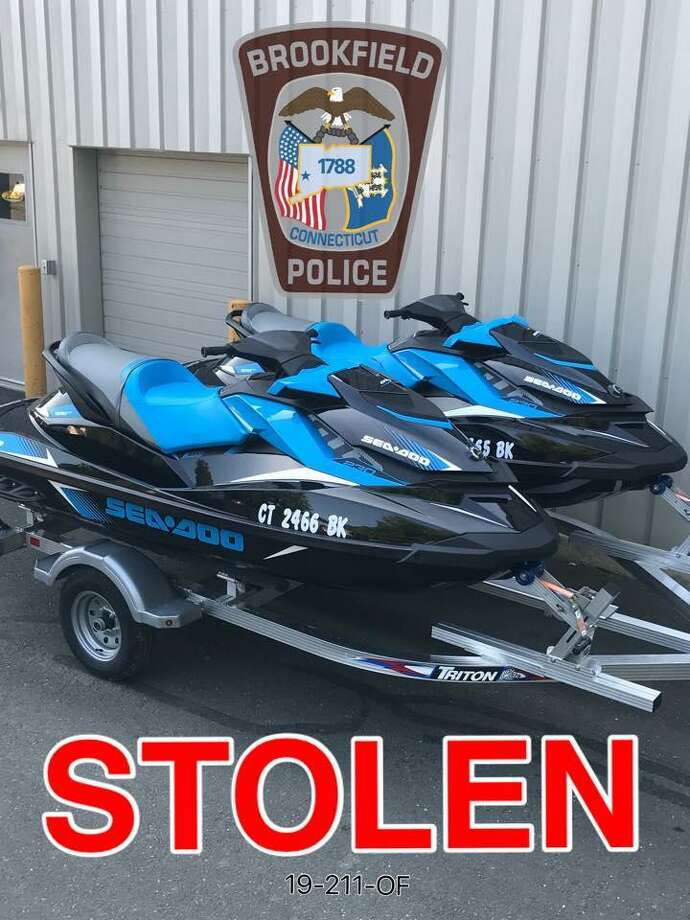 These jet skis and a trailer were stolen in Brookfield, police said. Photo: / Brookfield Police Department Facebook Page /Contributed Photo