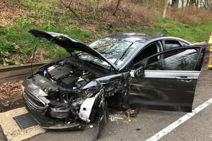 One person was injured Saturday evening after crashing into the guardrail on Route 15 Southbound in Trumbull.