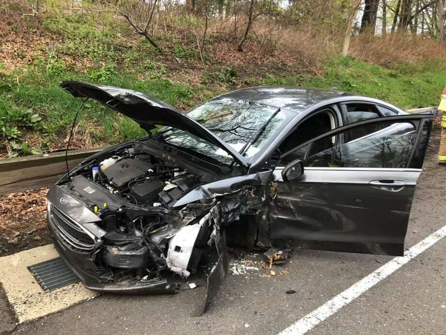 One person was injured Saturday evening after crashing into the guardrail on Route 15 Southbound in Trumbull. Photo: Contributed Photo / Contributed / The News-Times Contributed