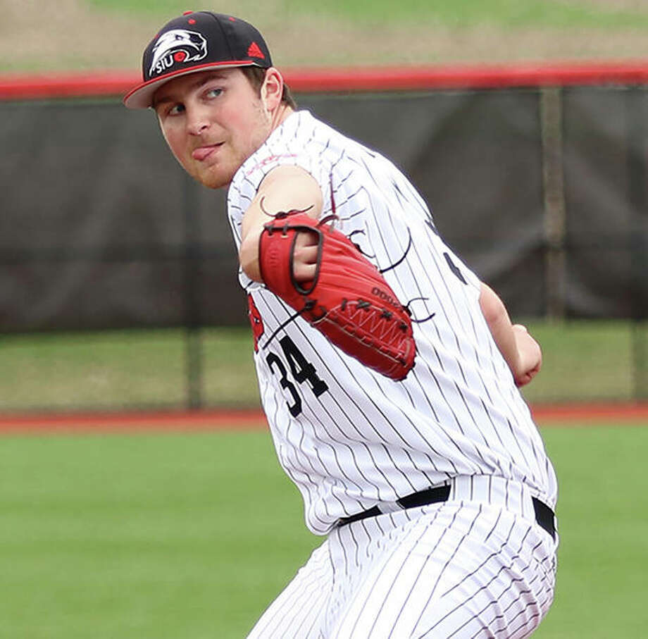 SIUE's Collin Baumgartner, a sophomore from Brighton, pitched a career-high seven innings to win the first game of a doubleheader sweep of Valparaiso on Saturday at the Simmons Baseball Complex in Edwardsville. Photo: Greg Shashack / The Telegraph