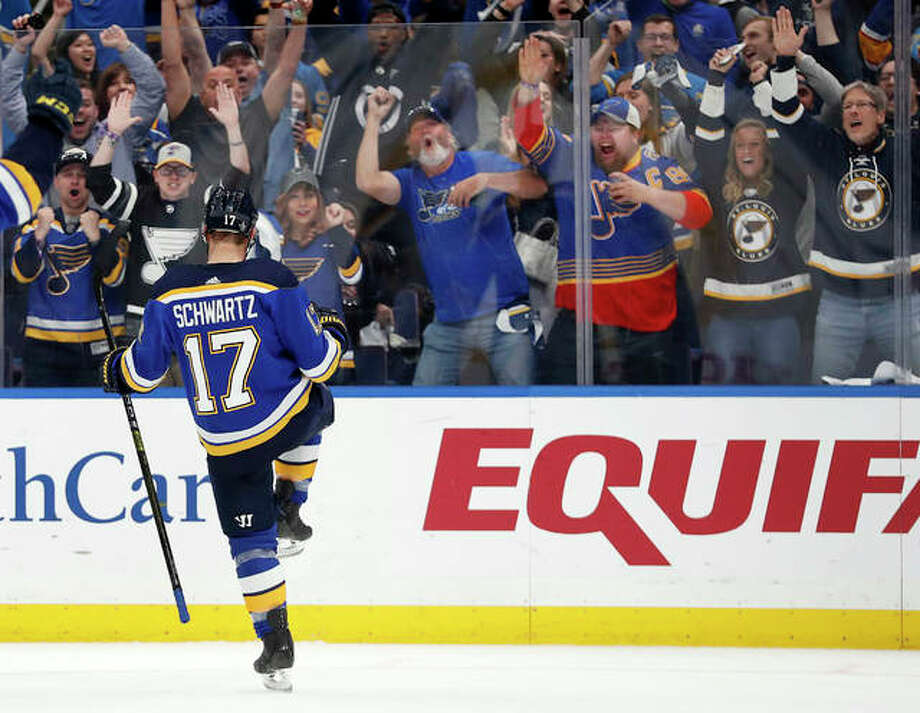 The Blues' Jaden Schwartz celebrates after scoring during the second period in Game 6 of a playoff series against the Winnipeg Jets on Saturday night in St. Louis. Photo: Associated Press