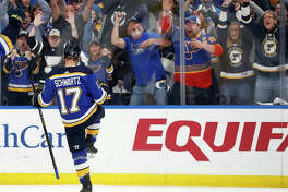 The Blues' Jaden Schwartz celebrates after scoring during the second period in Game 6 of a playoff series against the Winnipeg Jets on Saturday night in St. Louis.