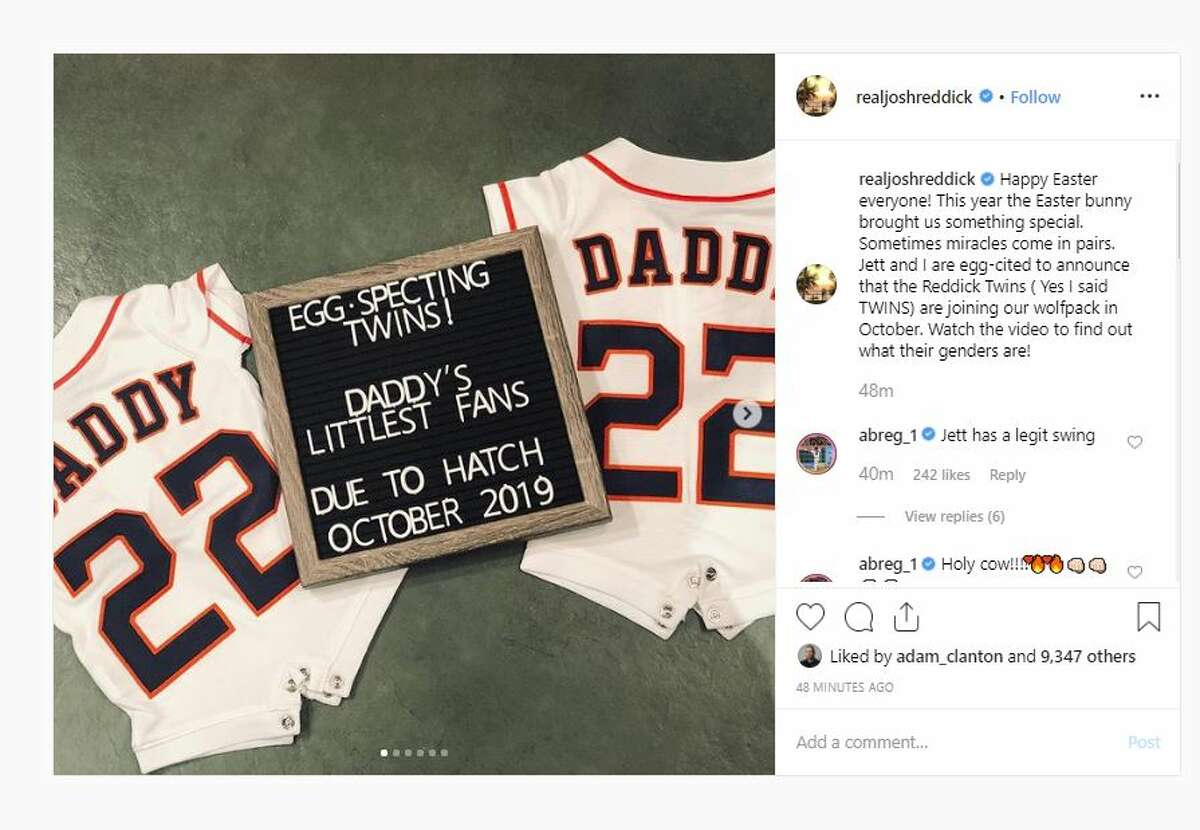 """The Astros star's post reads: """"Happy Easter everyone! This year the Easter bunny brought us something special. Sometimes miracles come in pairs. """"Jett and I are egg-cited to announce that the Reddick Twins ( Yes I said TWINS) are joining our wolfpack in October. Watch the video to find out what their genders are!"""""""